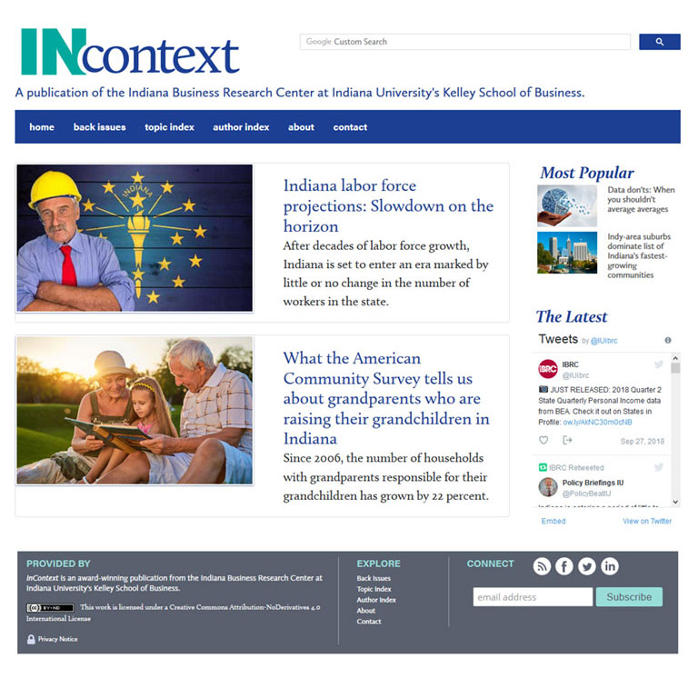 An image of the InContext home page